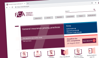 The website of the UK's Financial Conduct Authority (FCA)