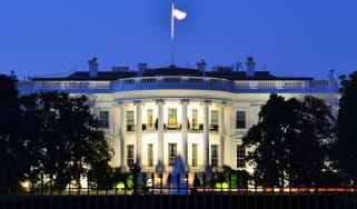 Front of the White House at night