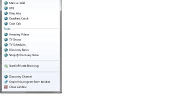 Websites with a customised IE9/Windows 7 jump list