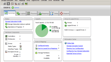 All array management is via IBM's SMC10 software which provides a clear overview of the appliance and its components.