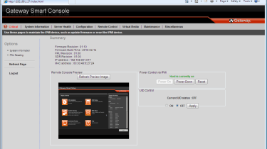 Gateway's remote management controller has a neat and tidy web interface with high levels of access to the server.