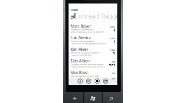 An email inbox on Windows Phone 7