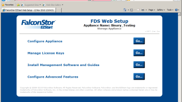 Initial setup starts at the appliance's browser interface which provides access to basic configuration and a download locatio