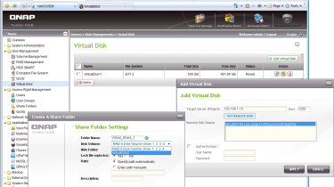 The virtual disk feature allows you to expand capacity as network shares by using iSCSI targets on other systems.