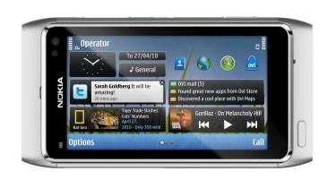 A silver Nokia N8