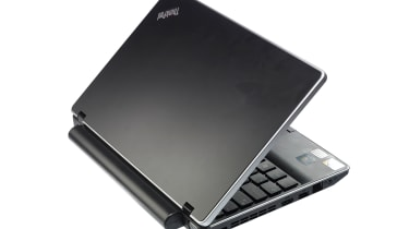 The large battery protruding from the rear of the 11in ThinkPad Edge