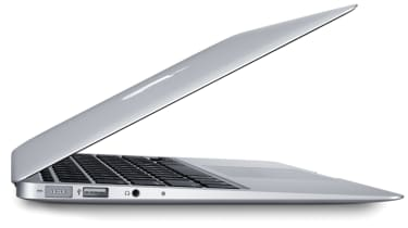The 11in MacBook Air from the side with its lid open