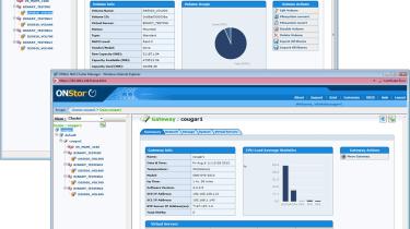 The OnStor web interface provides plenty of information about volume usage and system utilisation.