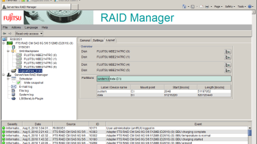 Along with hardware inventory and fault alerting, ServerView also provides remote RAID controller management.