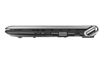 The ports on the right side of the Samsung N350 netbook