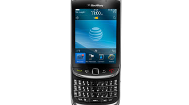 The BlackBerry Torch 9800 with slider keyboard open