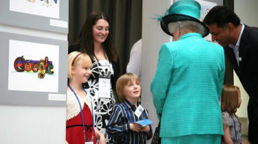 Finalists from Google's Doodle 4 Google competition got the chance to show the Queen their work.