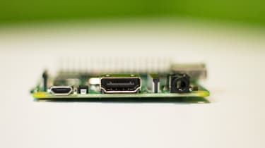 Side view of the Raspberry Pi 3 Model A+ showing power input, HDMI port and 3.5mm jack