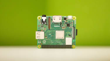Top view of the Raspberry Pi 3 Model A+ showing CPU and ports