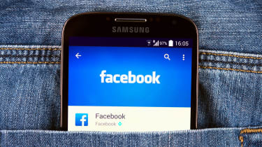 The Facebook app as seen on a smartphone in somebody's pocket