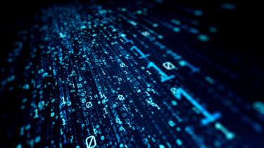 Blue binary data on a black background