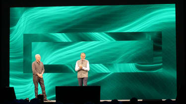 Aruba head Keerti Melkote and HPE CEO Antonio Neri at HPE Discover 2019 keynote