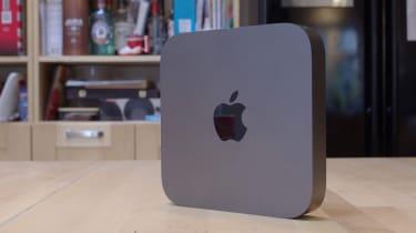 The Apple Mac Mini (2018) stood up at an angle