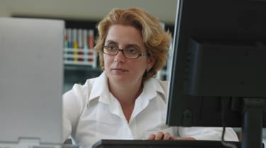 Researcher with computers