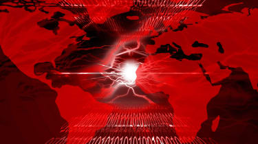 Map of the world with an ongoing cyber war