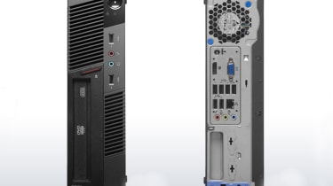 The front and rear of the Lenovo ThinkCentre M90p