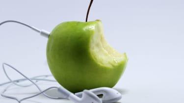 Apple iPod headphones with apple fruit