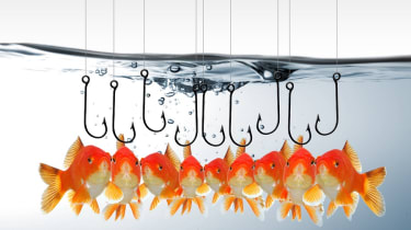 Some goldfish being lured by fishing hooks