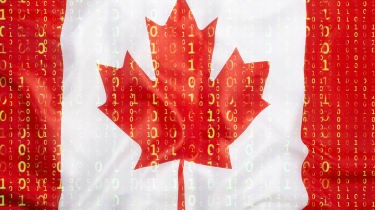 Canadian flag with binary code on it