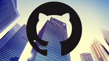 GitHub office with GitHub logo over top