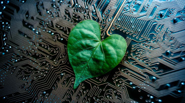 Leaf laying on a circuit board