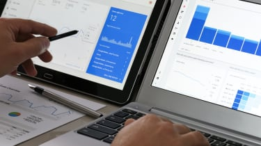 Two screens displaying charts from Google Analytics