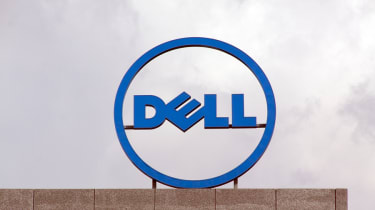Dell sign on top of a building with overcast skies