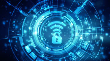 Abstract image showing a Wi-Fi logo on a cyber security background