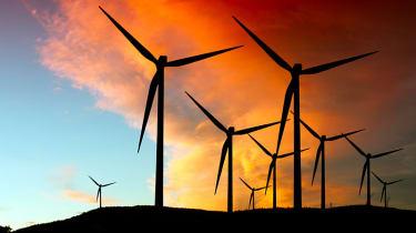 Large wind farm silhouette