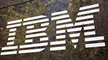 IBM logo on a brown background