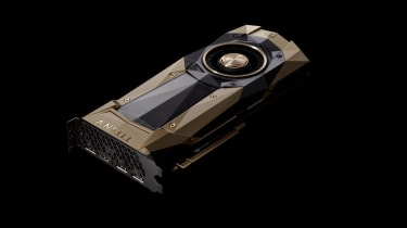 A GPU model against a black background