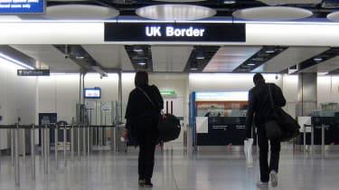 UK border at airport, customs checks