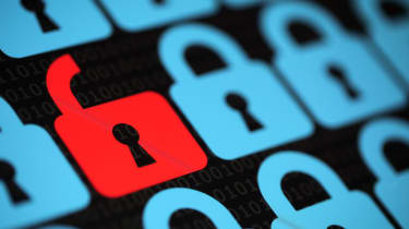 Blue padlocks surrounding a red unlocked padlock