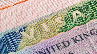 UK visa stamp on passport