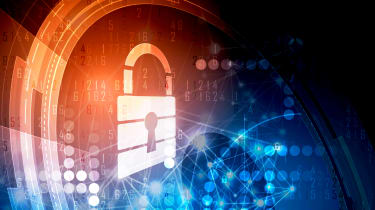 Graphic depicting a digital padlock on a colourful background