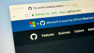 Github's website with a banner that says Microsoft is purchasing the company