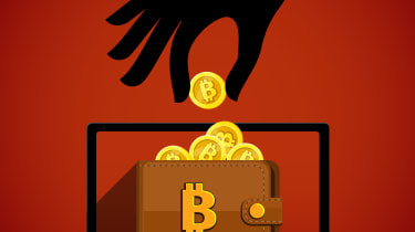 Graphic of a person stealing cryptocurrency from a laptop