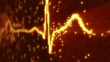 Image of a heart monitor trace on a digital background