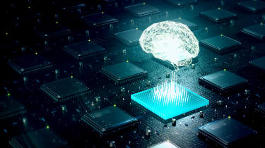 Abstract image of a digital brain powering a processor