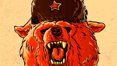 A drawing of an angry Russian bear