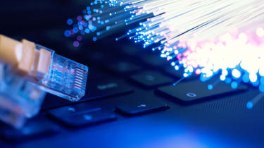Fiber optic cable on a laptop