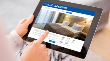 Hotel booking on a tablet