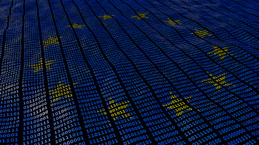 GDPR depicted by binary code in a European flag formation