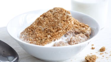 A bowl of Weetabix breakfast cereal