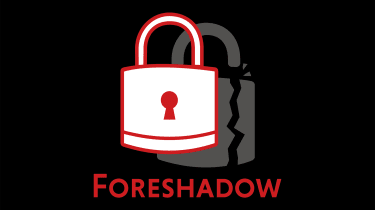 Foreshadow CPU vulnerability logo showing a lock with a broken shadow